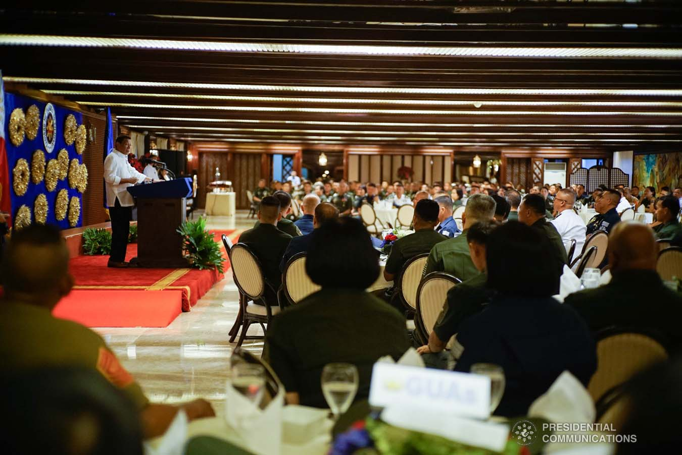President Rodrigo Roa Duterte delivers his speech during the Thanksgiving gathering he hosted for the Armed Forces of the Philippines Council of the Sergeants Major at the Malacañan Palace on December 10, 2019. KING RODRIGUEZ/PRESIDENTIAL PHOTO