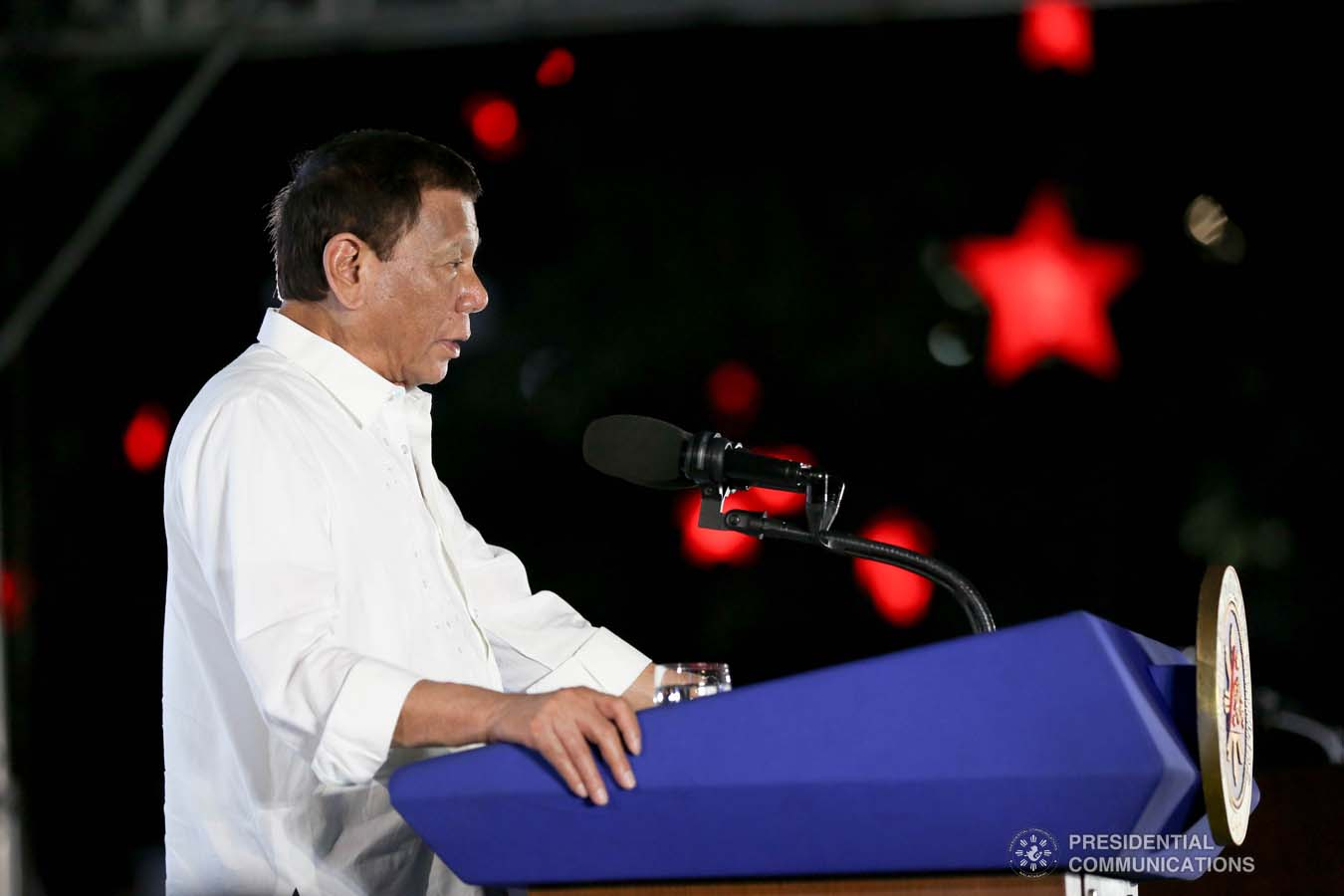 President Rodrigo Roa Duterte delivers his speech during the Thanksgiving party for the beneficiaries of the killed-in-action (KIA) soldiers and killed-in-police operation (KIPO) personnel under the Comprehensive Social Benefits Program at the Malacañan Palace on December 10, 2019. RICHARD MADELO/PRESIDENTIAL PHOTO