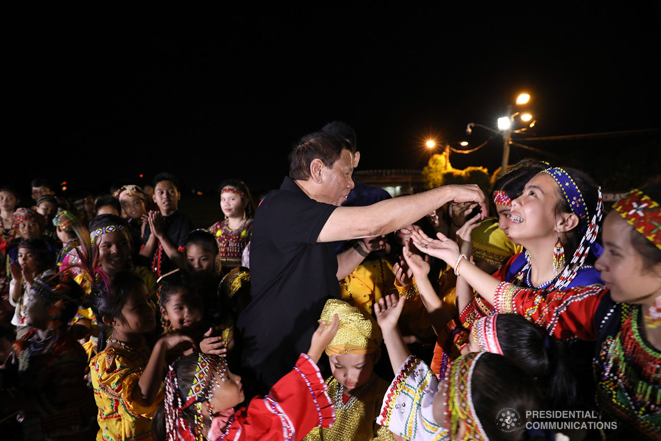 President Rodrigo Roa Duterte is greeted by the children from various Indigenous Peoples tribes in Mindanao at the Tactical Operations Group (TOG)-11 in Davao City on December 14, 2019. ACE MORANDANTE/PRESIDENTIAL PHOTO