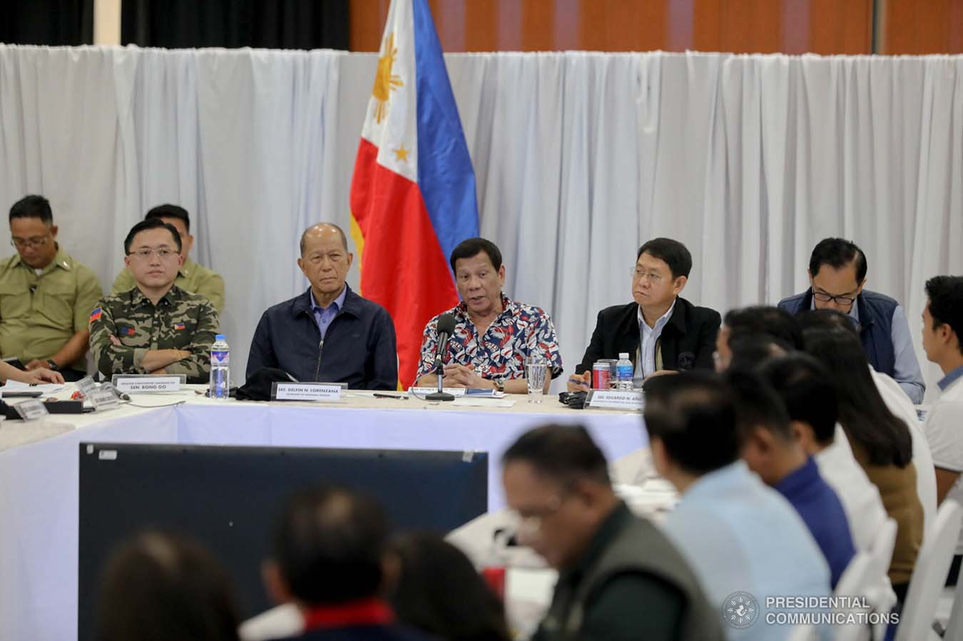 President Rodrigo Roa Duterte holds a situation briefing on the effects of Typhoon Tisoy at the Legazpi City Convention Center on December 5, 2019. ALFRED FRIAS/PRESIDENTIAL PHOTO