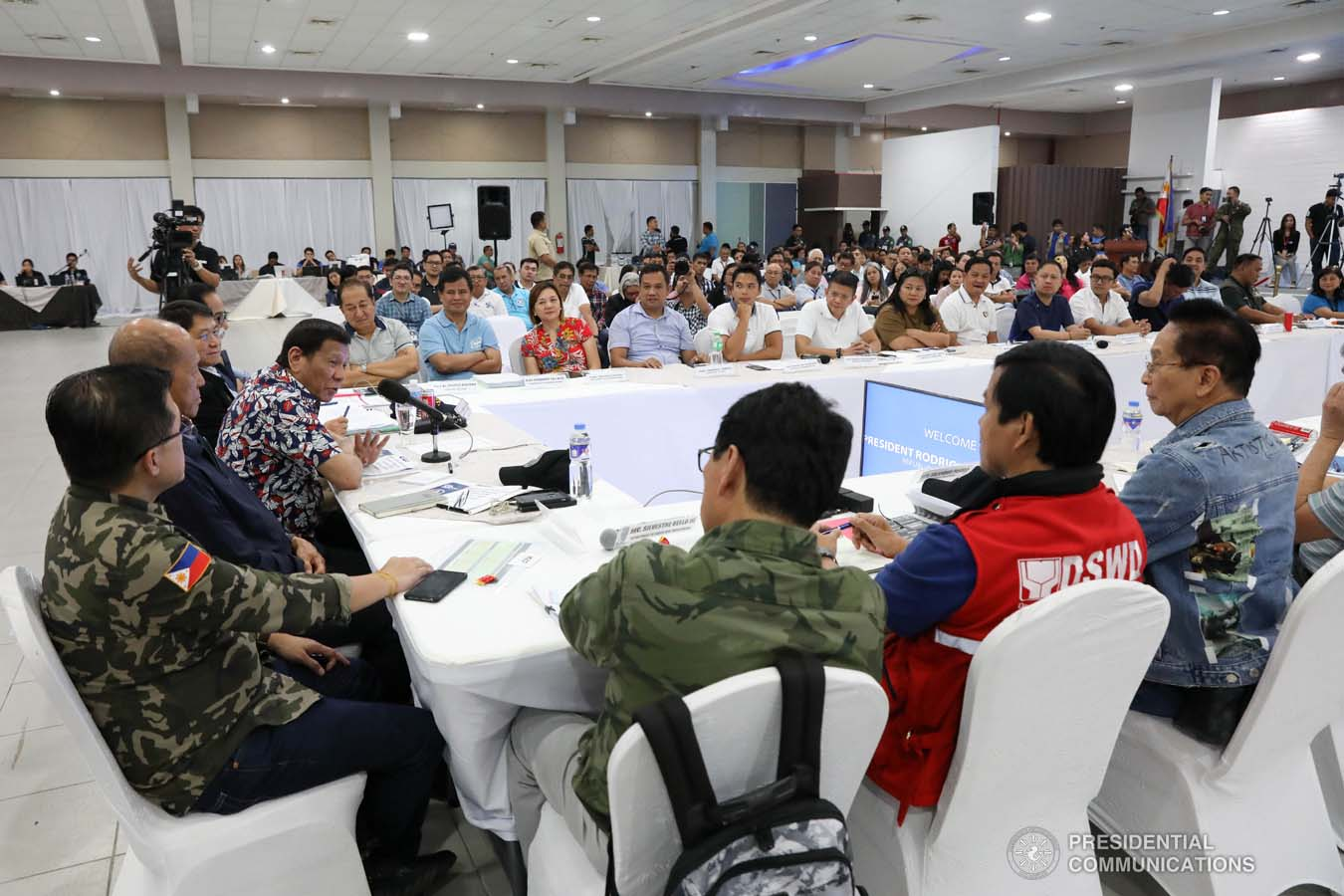 President Rodrigo Roa Duterte holds a situation briefing on the effects of Typhoon Tisoy at the Legazpi City Convention Center on December 5, 2019. ROBINSON NIÑAL JR./PRESIDENTIAL PHOTO