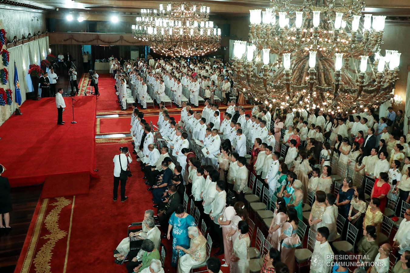 President Rodrigo Roa Duterte delivers his speech during the oath-taking ceremony of the newly-appointed flag officers of the Armed Forces of the Philippines and star-ranked officers of the Philippine National Police at the Malacañan Palace on December 9, 2019. ROBINSON NIÑAL JR./PRESIDENTIAL PHOTO