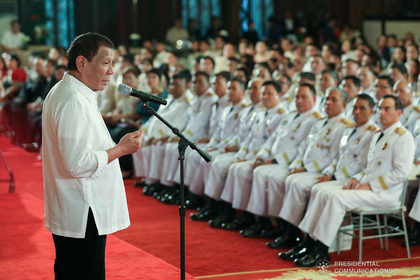 President Rodrigo Roa Duterte delivers his speech during the oath-taking ceremony of the newly- appointed flag officers of the Armed Forces of the Philippines and star-ranked officers of the Philippine National Police at the Malacañan Palace on December 9, 2019. ROBINSON NIÑAL JR./PRESIDENTIAL PHOTO