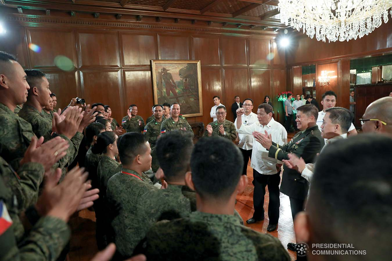 President Rodrigo Roa Duterte announces to the Philippine Army Team that they will receive P500,000 incentive for their sterling performance during the ASEAN Armies Rifle Meet 2019 held recently in Indonesia. The President made the announcement during their meeting at the Malacañan Palace on December 9, 2019. KARL NORMAN ALONZO/PRESIDENTIAL PHOTO
