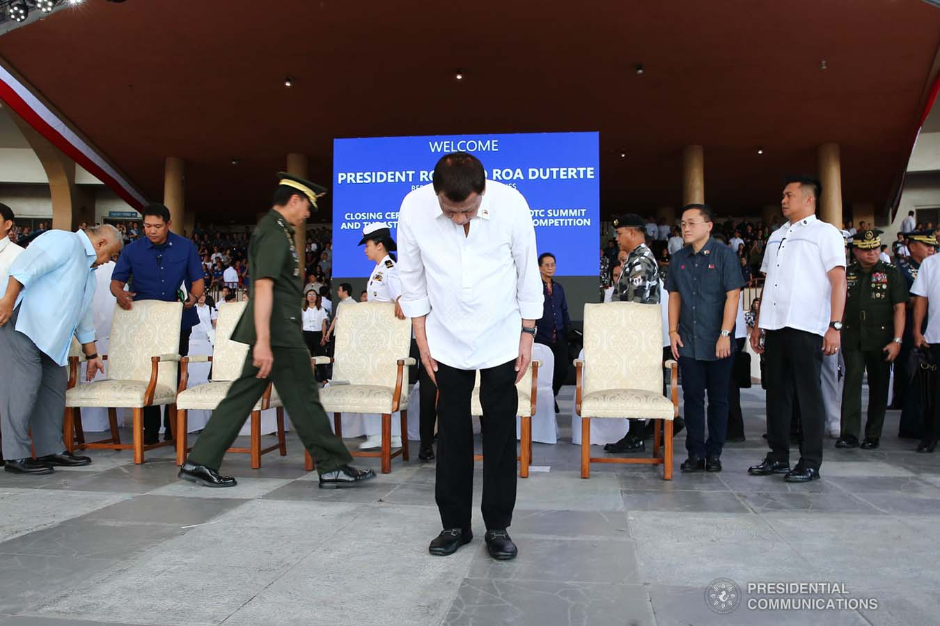 President Rodrigo Roa Duterte takes a bow before the guests during the closing ceremony of the National Reserve Officers' Training Corps (ROTC) Summit and the 1st Presidential Silent Drill Competition at the Quirino Grandstand in Manila on December 20, 2019. REY BANIQUET/PRESIDENTIAL PHOTO