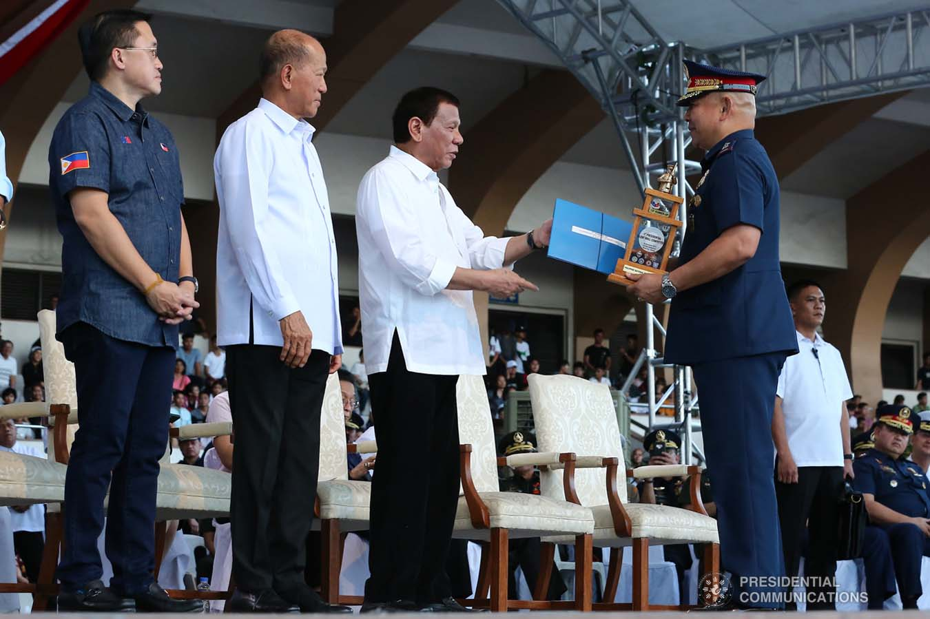 President Rodrigo Roa Duterte leads the awarding ceremony of the 1st Presidential Silent Drill Competition at the Quirino Grandstand in Manila on December 20, 2019. REY BANIQUET/PRESIDENTIAL PHOTO
