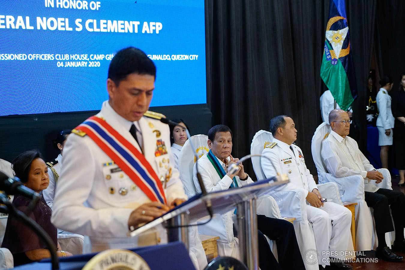 President Rodrigo Roa Duterte listens to the message of outgoing Armed Forces of the Philippines (AFP) Chief of Staff General Noel Clement during the AFP Change of Command ceremony at Camp General Emilio Aguinaldo in Quezon City on January 4, 2020. KING RODRIGUEZ/PRESIDENTIAL PHOTO