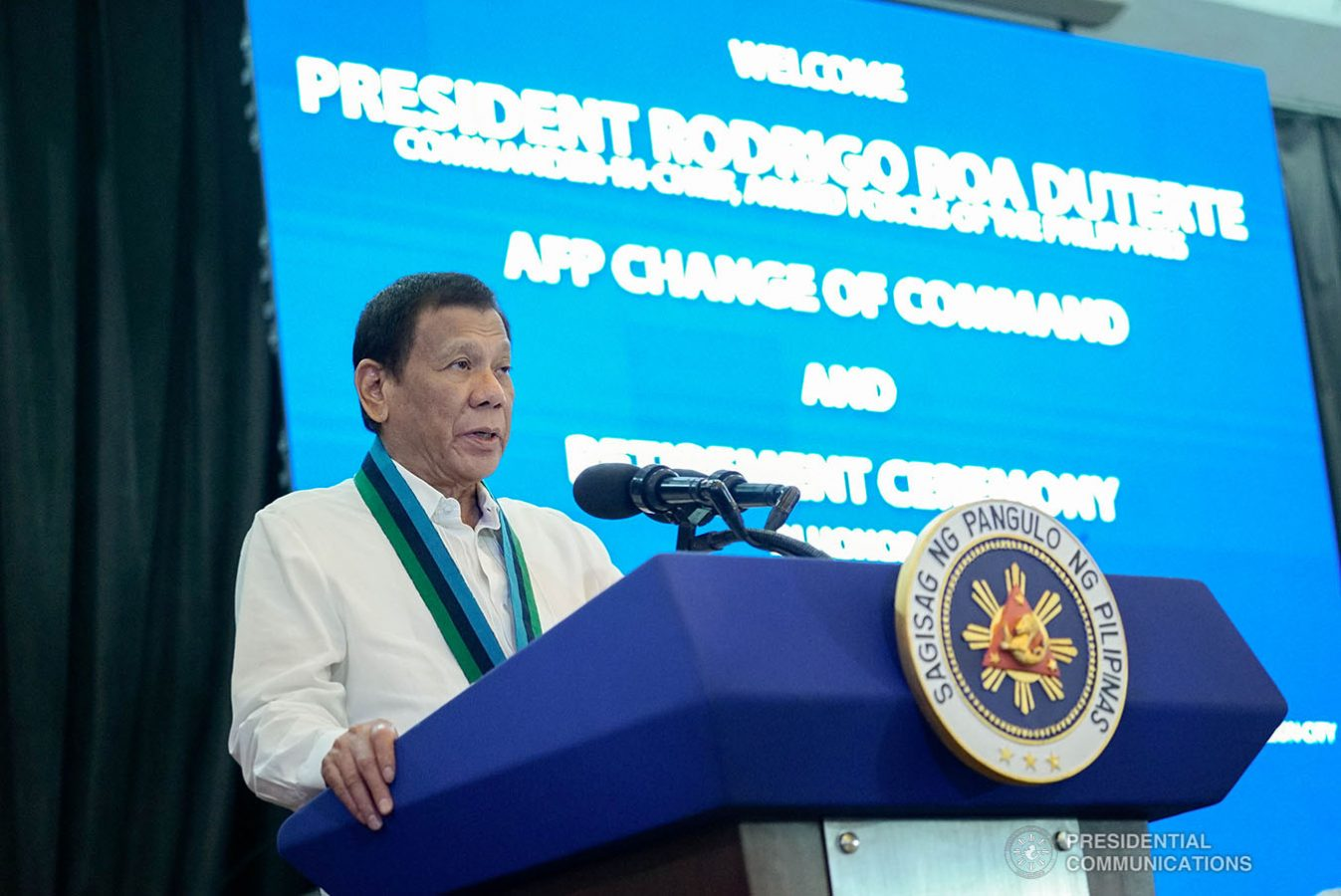 President Rodrigo Roa Duterte delivers a speech during the Armed Forces of the Philippines (AFP) Change of Command ceremony at Camp General Emilio Aguinaldo in Quezon City on January 4, 2020. KING RODRIGUEZ/PRESIDENTIAL PHOTO