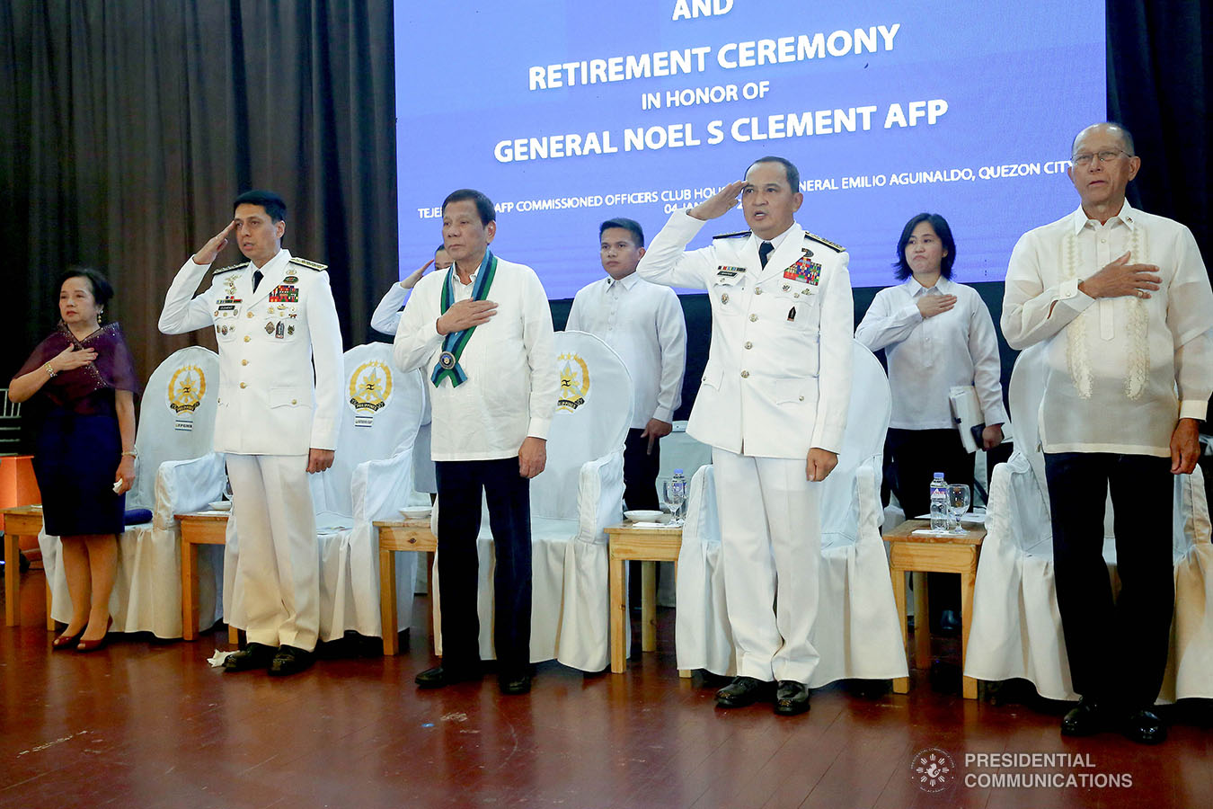 President Rodrigo Roa Duterte sings the Philippine National Anthem during the Armed Forces of the Philippines (AFP) Change of Command ceremony at Camp General Emilio Aguinaldo in Quezon City on January 4, 2020. REY BANIQUET/PRESIDENTIAL PHOTO
