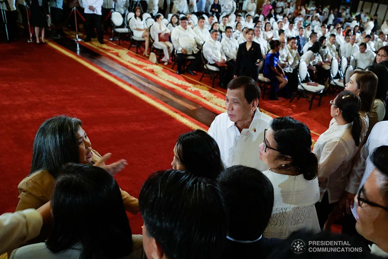 President Rodrigo Roa Duterte greets one of the newly-appointed government officials during the oath-taking ceremony at the Malacañan Palace on January 8, 2020. KING RODRIGUEZ/PRESIDENTIAL PHOTO