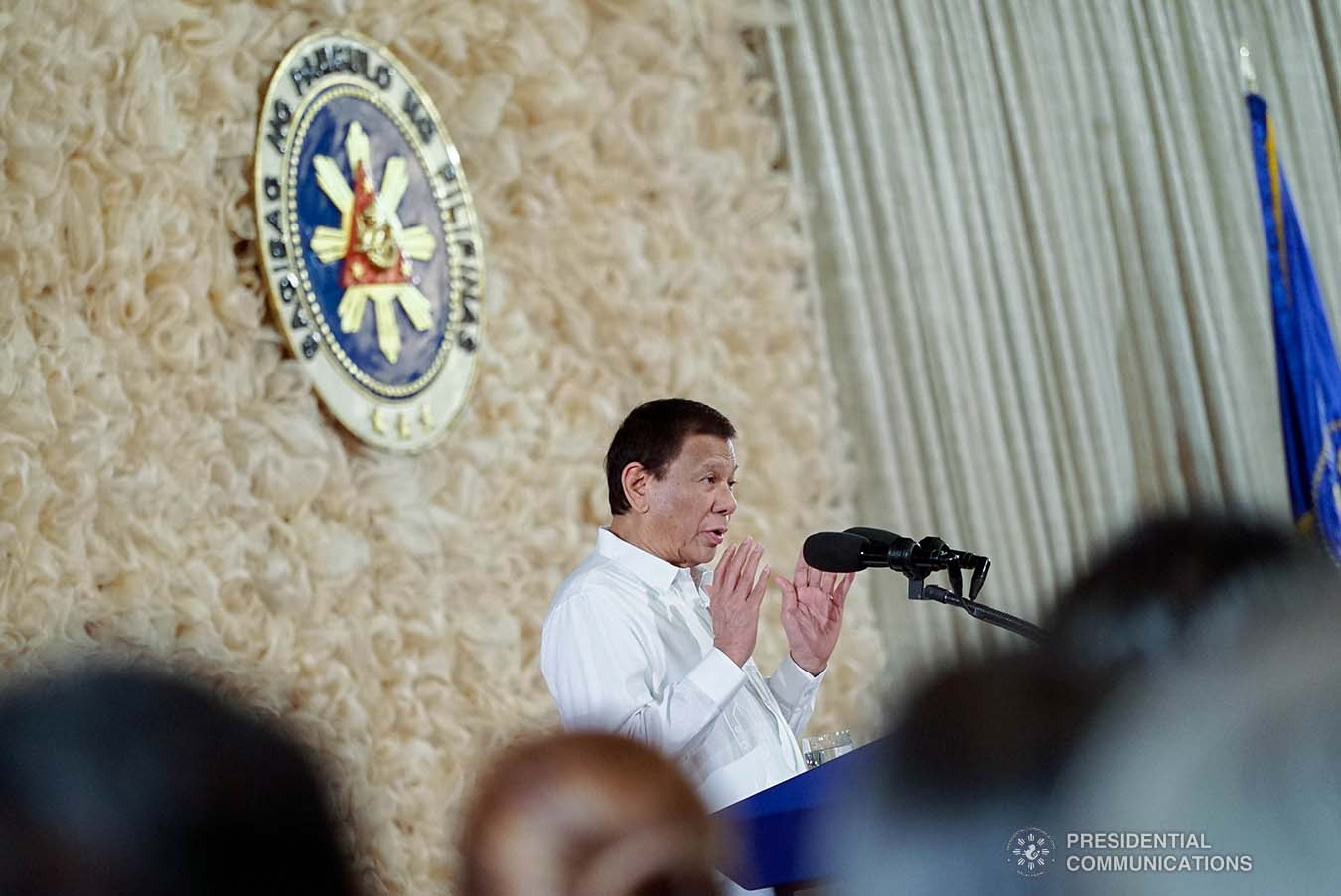 President Rodrigo Roa Duterte delivers a speech during the oath-taking ceremony of newly-appointed government officials at the Malacañan Palace on January 8, 2020. KING RODRIGUEZ/PRESIDENTIAL PHOTO