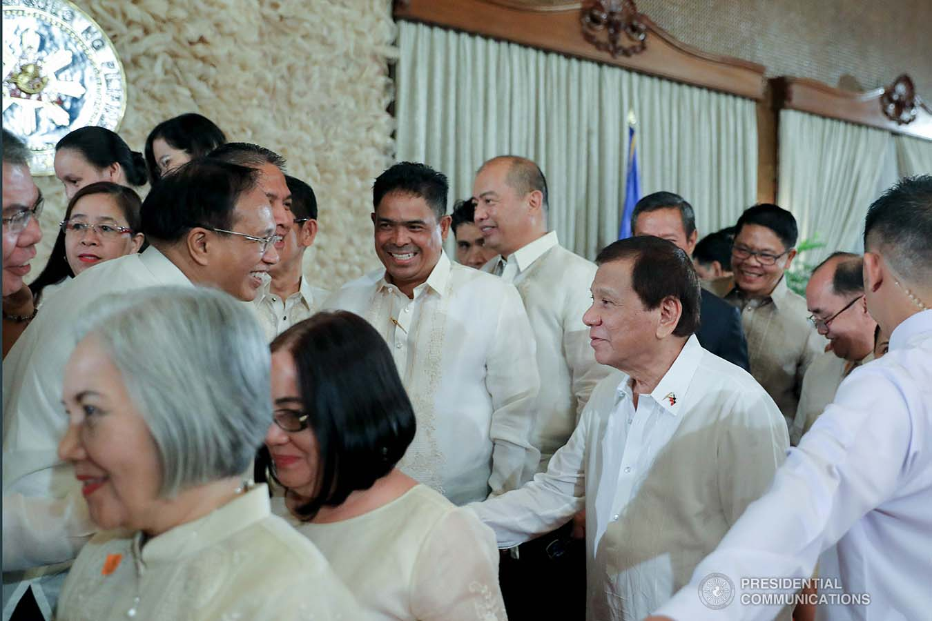 President Rodrigo Roa Duterte greets some of the newly-appointed government officials during the oath-taking ceremony at the Malacañan Palace on January 8, 2020. VALERIE ESCALERA/PRESIDENTIAL PHOTO