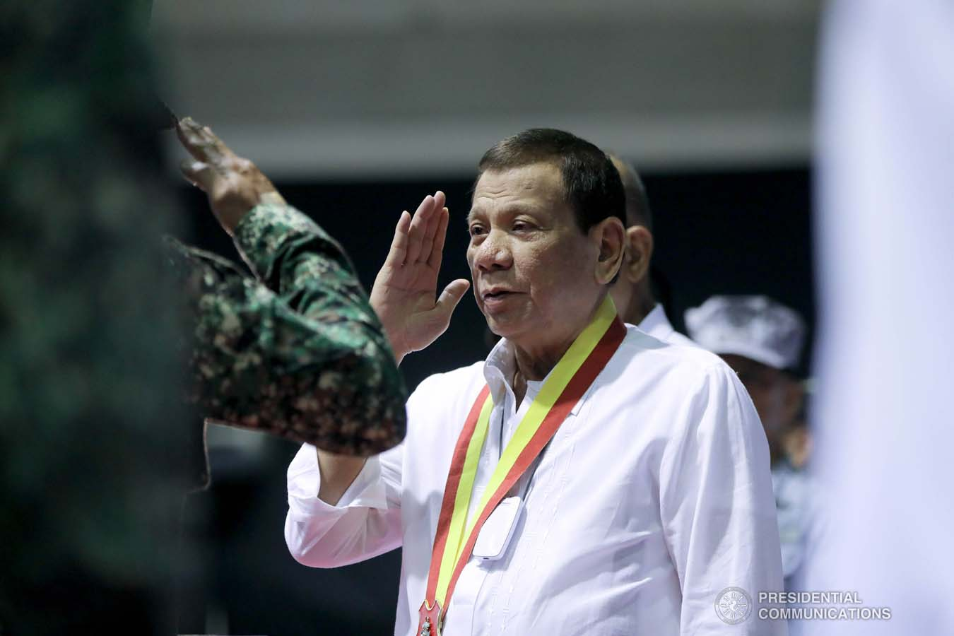 President Rodrigo Roa Duterte salutes one of the personnel of the Philippine Marine Corps, who was conferred the Order of Lapu-Lapu Rank of Kamagi during his visit to the PMC headquarters at Fort Bonifacio in Taguig City on January 13, 2020. The President honored the PMC personnel who took part in the liberation of Marawi City from the terrorists. ALFRED FRIAS/PRESIDENTIAL PHOTO