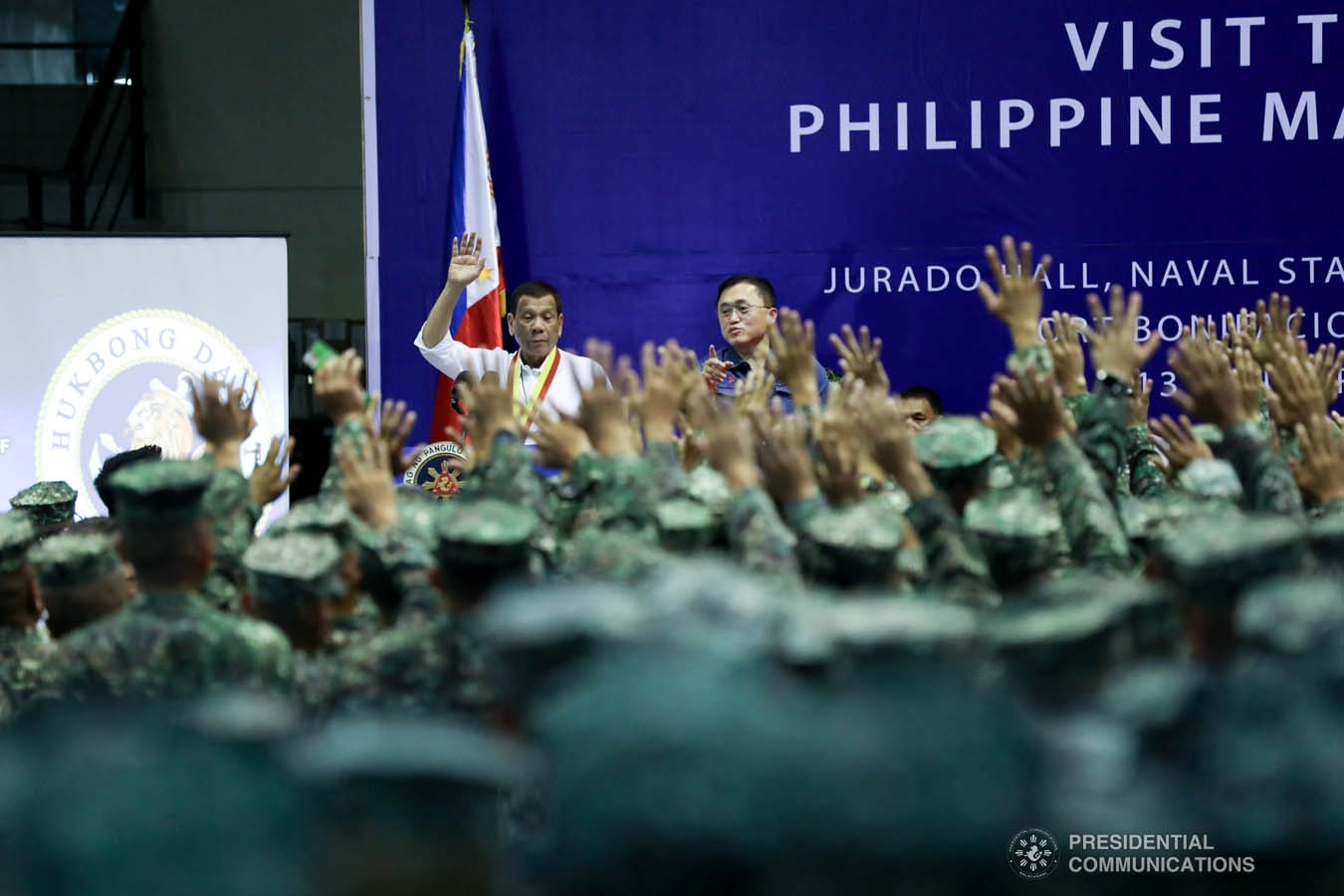 President Rodrigo Roa Duterte delivers a speech during his visit to the Philippine Marine Corps headquarters at Fort Bonifacio in Taguig City on January 13, 2020. TOTO LOZANO/PRESIDENTIAL PHOTO