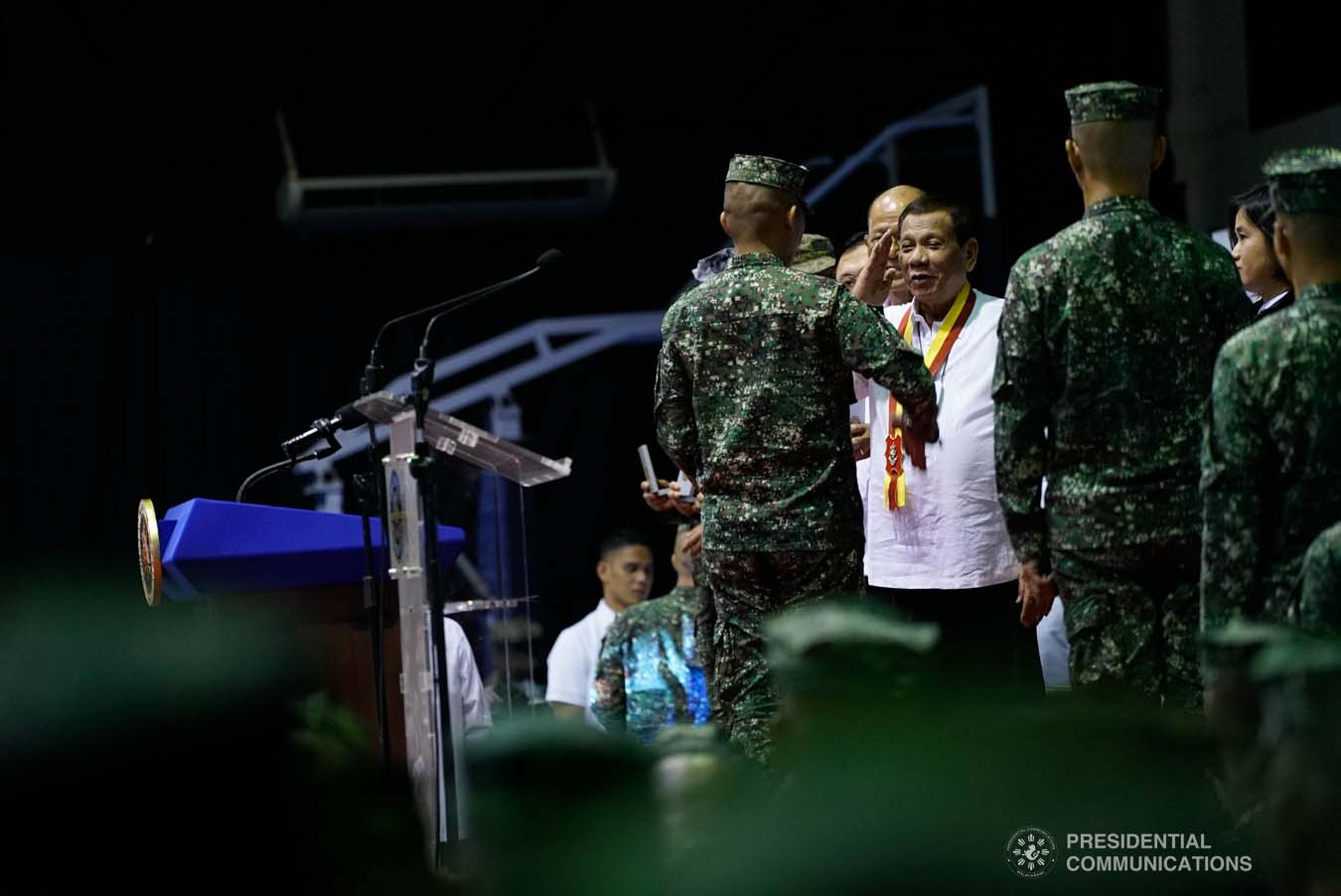 President Rodrigo Roa Duterte salutes one of the Philippine Marine Corps (PMC) personnel, who was conferred with the Order of Lapu-Lapu Rank of Kamagi at Fort Bonifacio in Taguig City on January 13, 2020. The President honored the PMC personnel who took part in the liberation of Marawi City from the terrorists. KING RODRIGUEZ/PRESIDENTIAL PHOTO