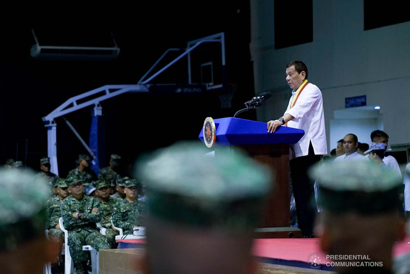 President Rodrigo Roa Duterte delivers a speech during his visit to the Philippine Marine Corps headquarters at Fort Bonifacio in Taguig City on January 13, 2020. KING RODRIGUEZ/PRESIDENTIAL PHOTO