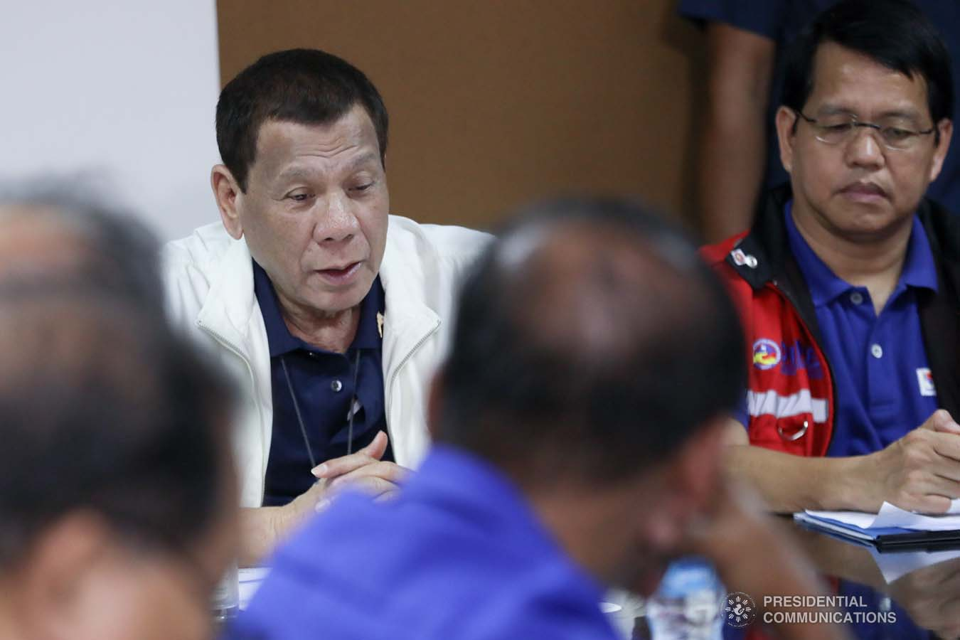 President Rodrigo Roa Duterte presides over a situation briefing on the effects of the Taal Volcano eruption at the Batangas Provincial Sports Complex on January 14, 2020. ACE MORANDANTE/PRESIDENTIAL PHOTO