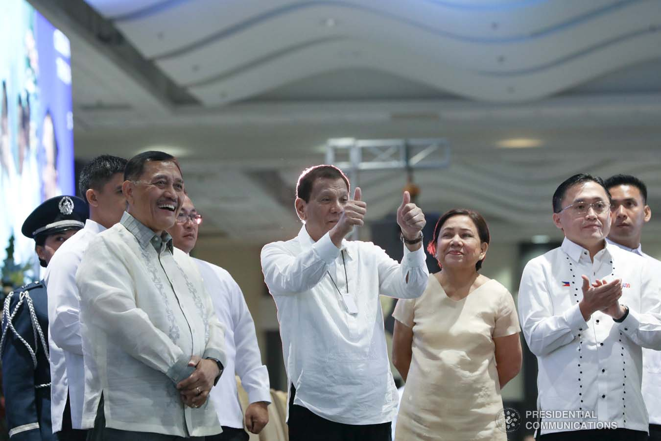 President Rodrigo Roa Duterte gives a thumbs up gesture to the guests during the celebration of the 120-year presence of the Baptist Churches in the Philippines at the SMX Convention Center in Pasay City on January 16, 2020. TOTO LOZANO/PRESIDENTIAL PHOTO