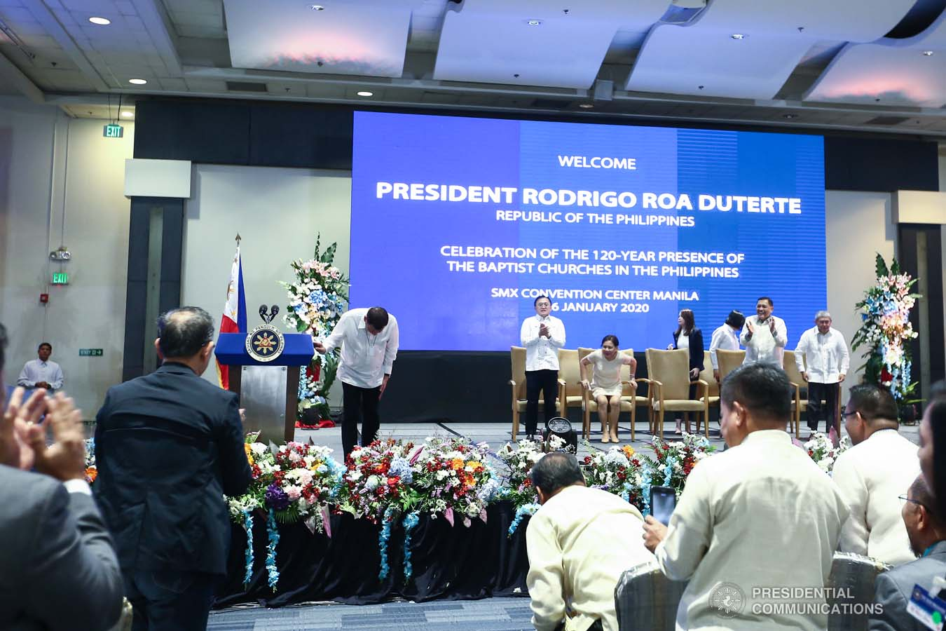 President Rodrigo Roa Duterte takes a bow after delivering his speech during the celebration of the 120-year presence of the Baptist Churches in the Philippines at the SMX Convention Center in Pasay City on January 16, 2020. VALERIE ESCALERA/PRESIDENTIAL PHOTO
