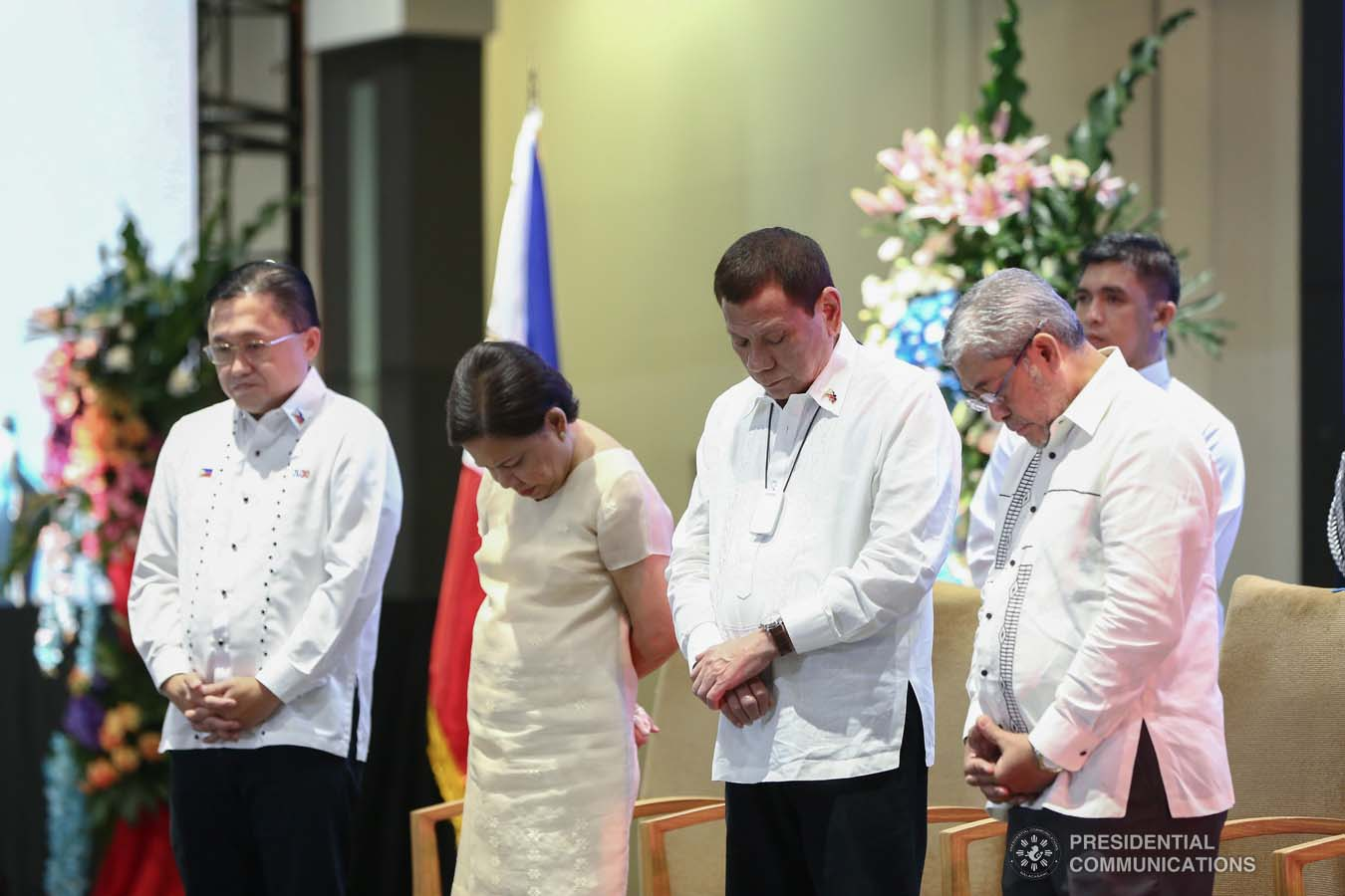 President Rodrigo Roa Duterte bows his head in prayer during the celebration of the 120-year presence of the Baptist Churches in the Philippines at the SMX Convention Center in Pasay City on January 16, 2020. VALERIE ESCALERA/PRESIDENTIAL PHOTO