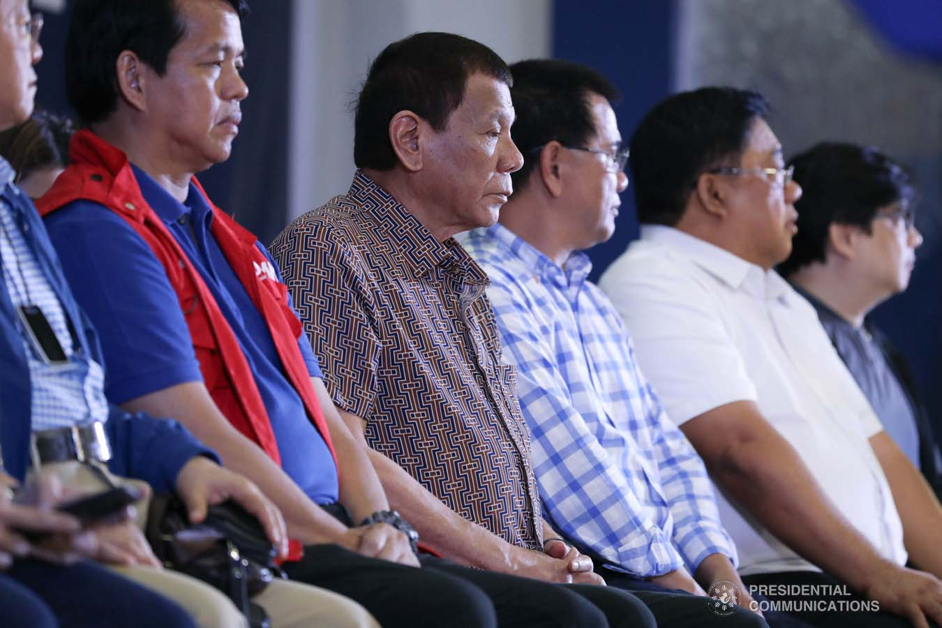 President Rodrigo Roa Duterte witnesses the program proper during the distribution of benefits to former rebels at the San Isidro Central School in Leyte on January 23, 2020. KARL NORMAN ALONZO/PRESIDENTIAL PHOTO