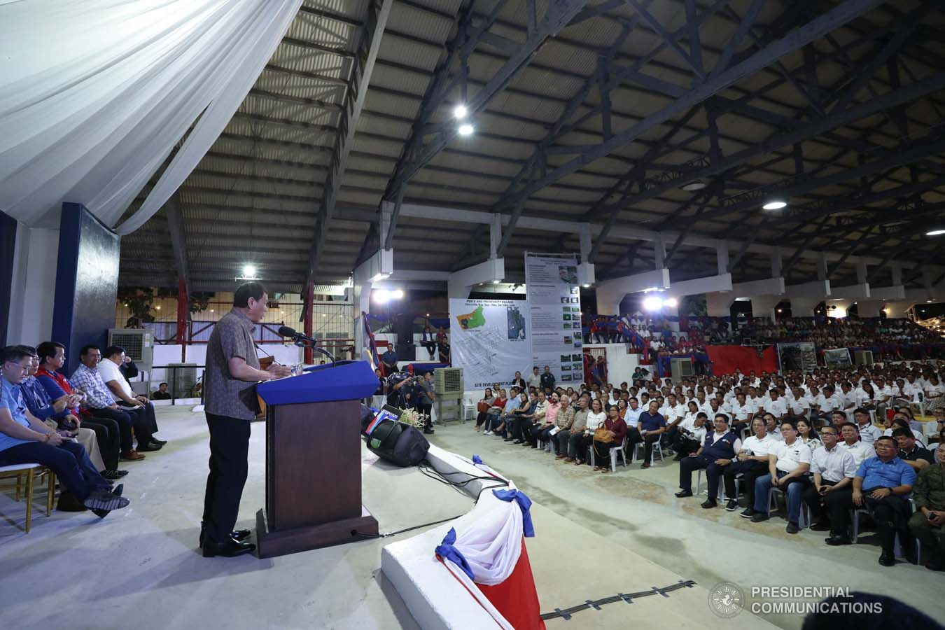 President Rodrigo Roa Duterte delivers a speech after leading the distribution of benefits to former rebels at the San Isidro Central School in Leyte on January 23, 2020. KARL NORMAN ALONZO/PRESIDENTIAL PHOTO