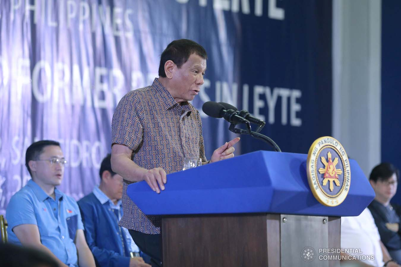 President Rodrigo Roa Duterte delivers a speech after leading the distribution of benefits to former rebels at the San Isidro Central School in Leyte on January 23, 2020. VALERIE ESCALERA/PRESIDENTIAL PHOTO