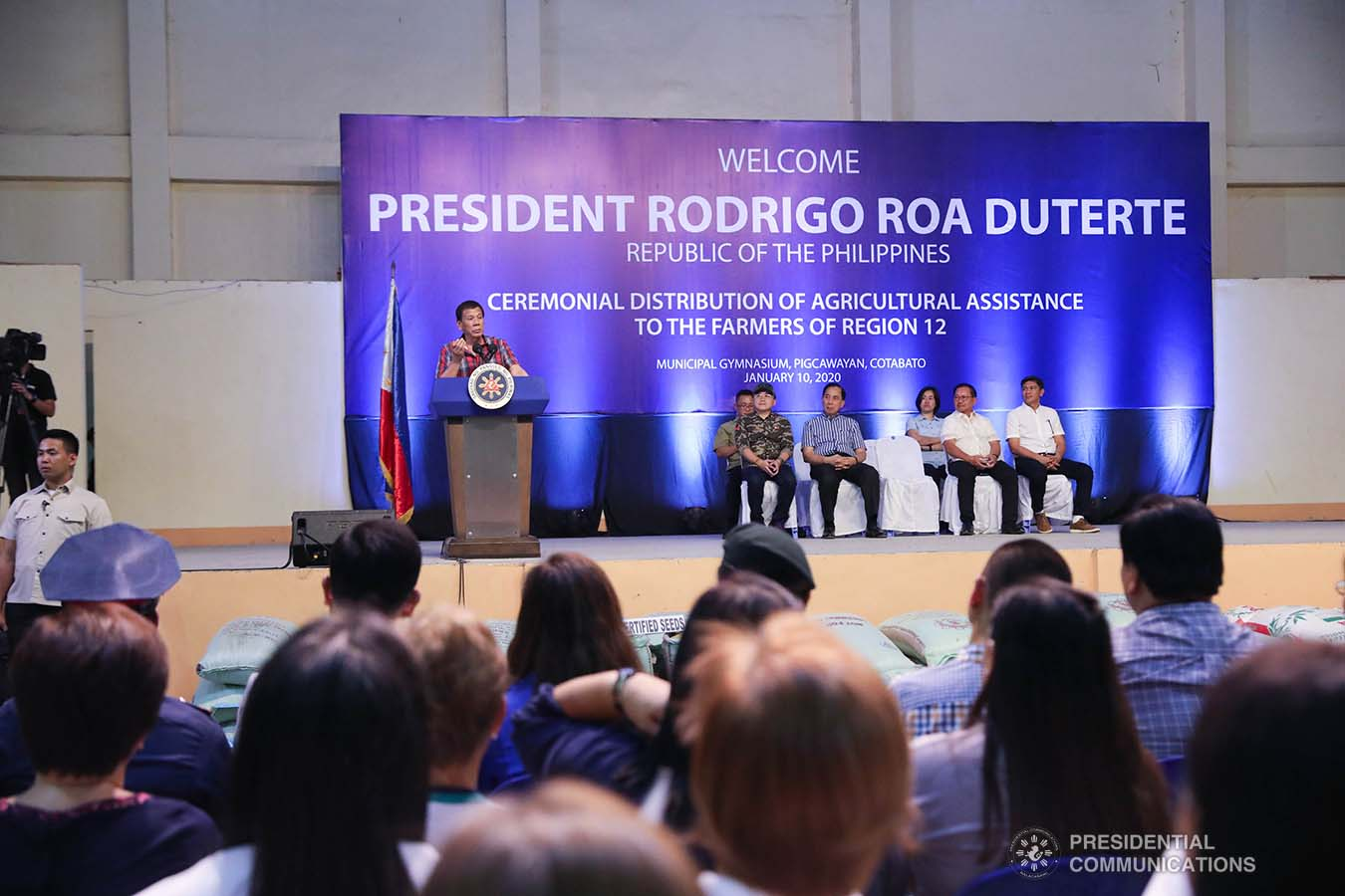 President Rodrigo Roa Duterte delivers a speech during the ceremonial distribution of agricultural assistance to the farmers of Region 12 at the Pigcawayan Municipal Gymnasium in Cotabato on January 10, 2020. ROBINSON NIÑAL JR./PRESIDENTIAL PHOTO
