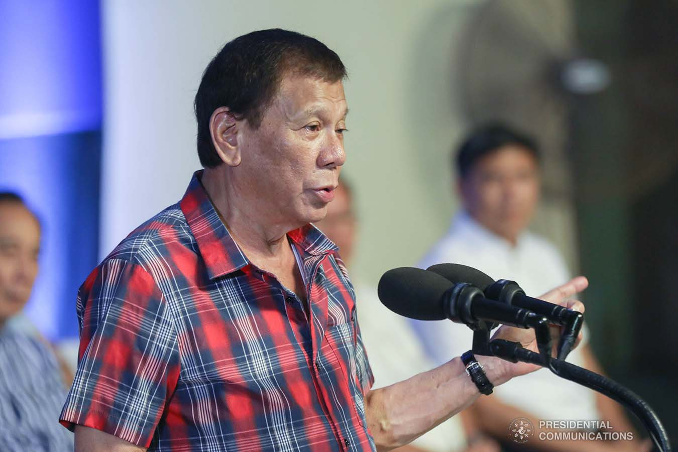 President Rodrigo Roa Duterte delivers a speech during the ceremonial distribution of agricultural assistance to the farmers of Region 12 at the Pigcawayan Municipal Gymnasium in Cotabato on January 10, 2020. SIMEON CELI JR./PRESIDENTIAL PHOTO