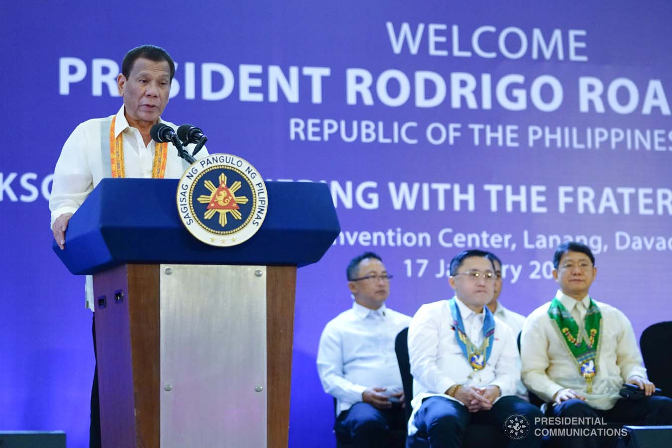 President Rodrigo Roa Duterte delivers a speech during the thanksgiving gathering with The Fraternal Order of Eagles (TFOE) at the SMX Convention Center in Davao City on January 17, 2020. JOEY DALUMPINES/PRESIDENTIAL PHOTO