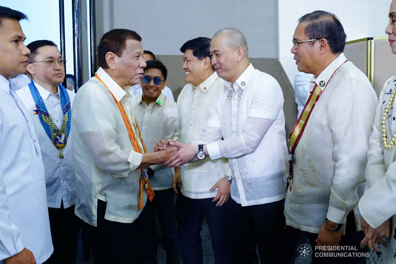 President Rodrigo Roa Duterte shares a light moment with some of the guests during the thanksgiving gathering with The Fraternal Order of Eagles (TFOE) at the SMX Convention Center in Davao City on January 17, 2020. JOEY DALUMPINES/PRESIDENTIAL PHOTO