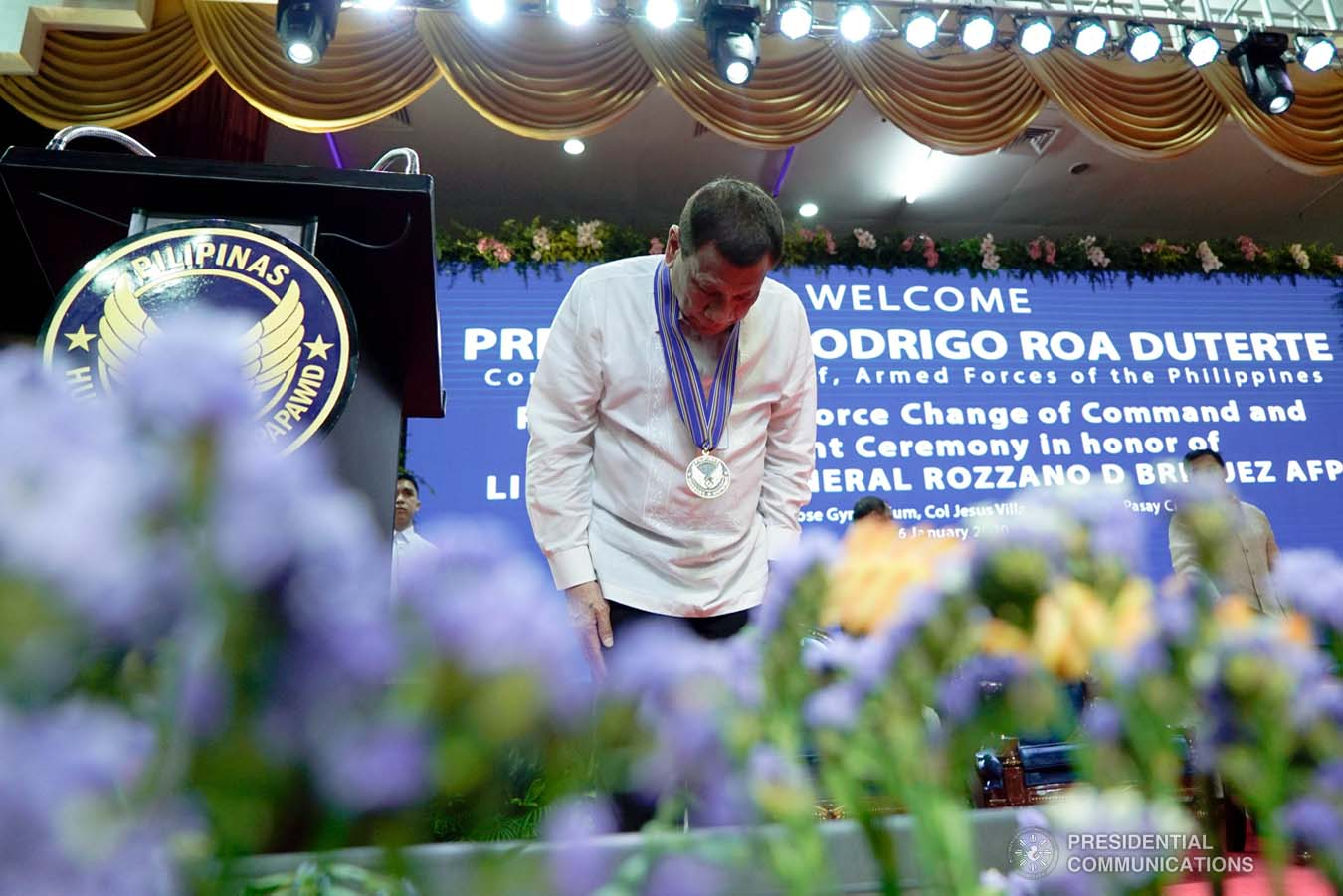 President Rodrigo Roa Duterte takes a bow after delivering a speech during the Philippine Air Force Change of Command ceremony at the Col. Jesus Villamor Air Base in Pasay City on January 16, 2020. KING RODRIGUEZ/PRESIDENTIAL PHOTO
