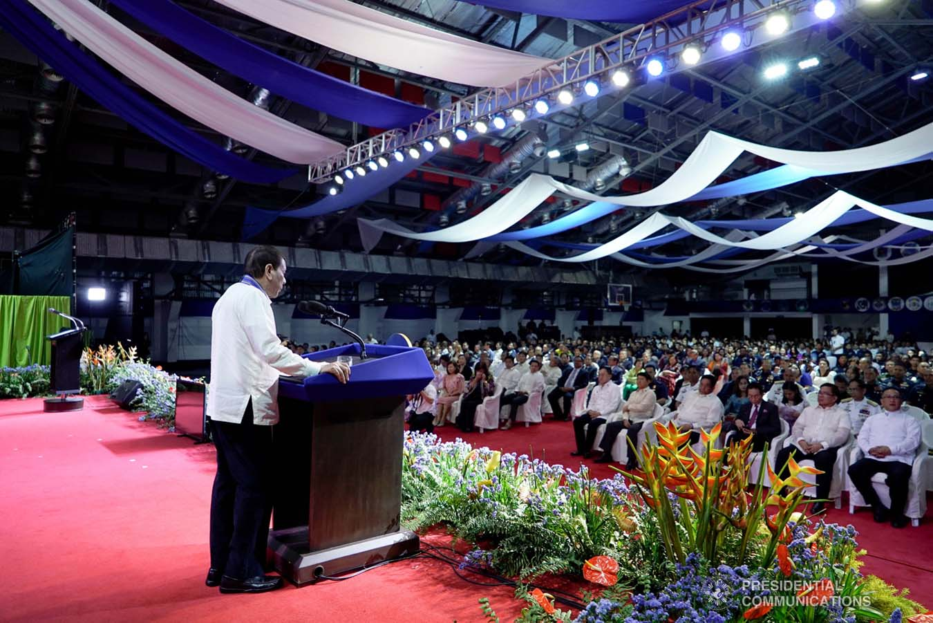 President Rodrigo Roa Duterte delivers a speech during the Philippine Air Force Change of Command Ceremony at the Col. Jesus Villamor Air Base in Pasay City on January 16, 2020. KING RODRIGUEZ/PRESIDENTIAL PHOTO