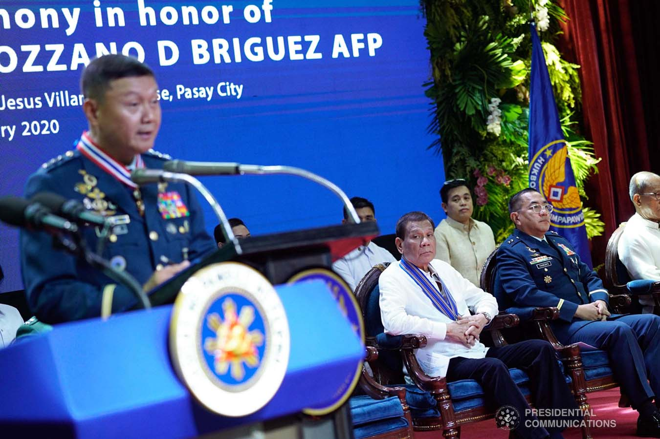 President Rodrigo Roa Duterte listens to the message of outgoing Philippine Air Force (PAF) Commanding General Lieutenant General Rozzano Briguez during the PAF Change of Command ceremony at the Col. Jesus Villamor Air Base in Pasay City on January 16, 2020. KING RODRIGUEZ/PRESIDENTIAL PHOTO
