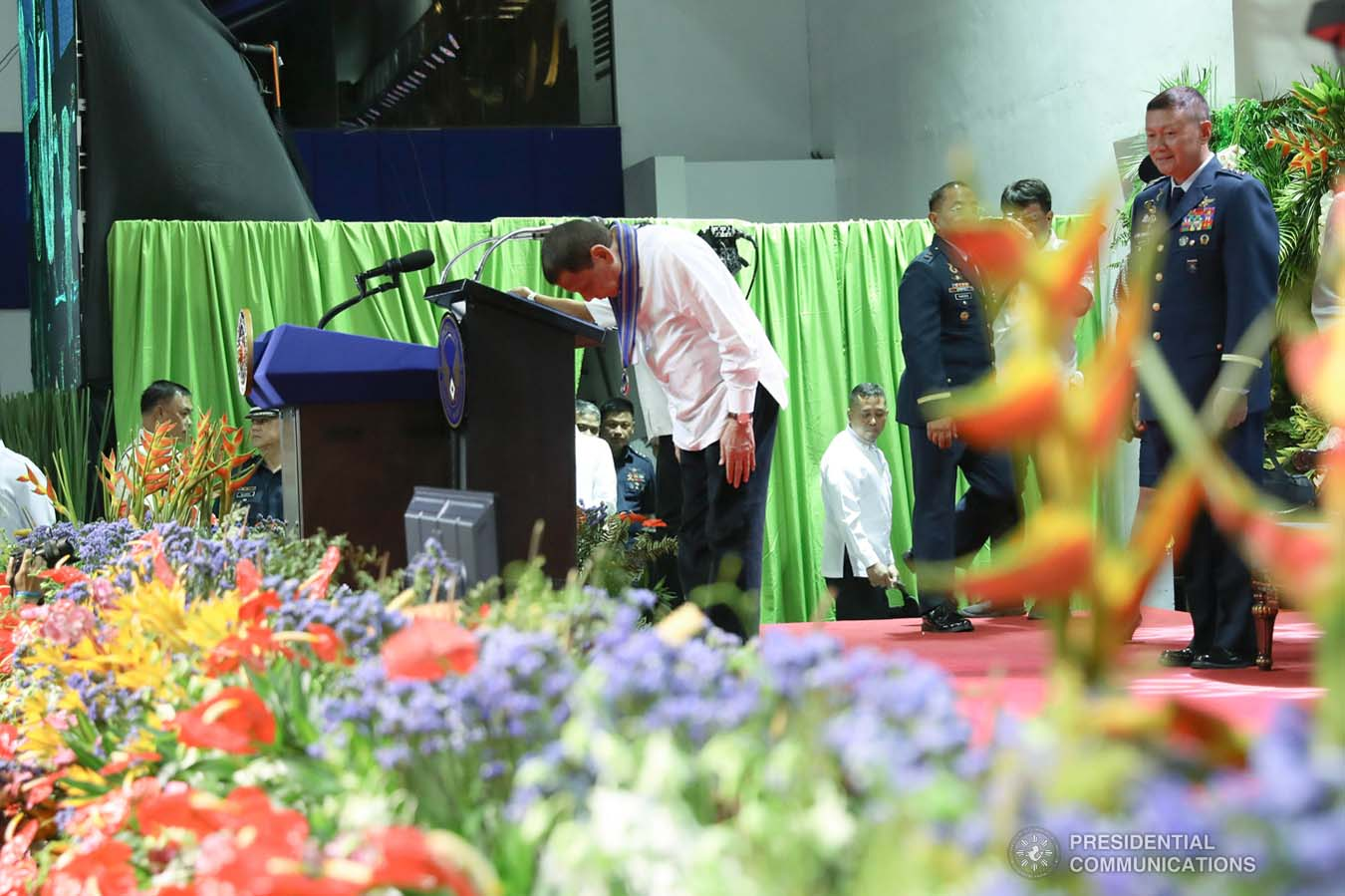 President Rodrigo Roa Duterte takes a bow after delivering a speech during the Philippine Air Force Change of Command ceremony at the Col. Jesus Villamor Air Base in Pasay City on January 16, 2020. KARL NORMAN ALONZO/PRESIDENTIAL PHOTO