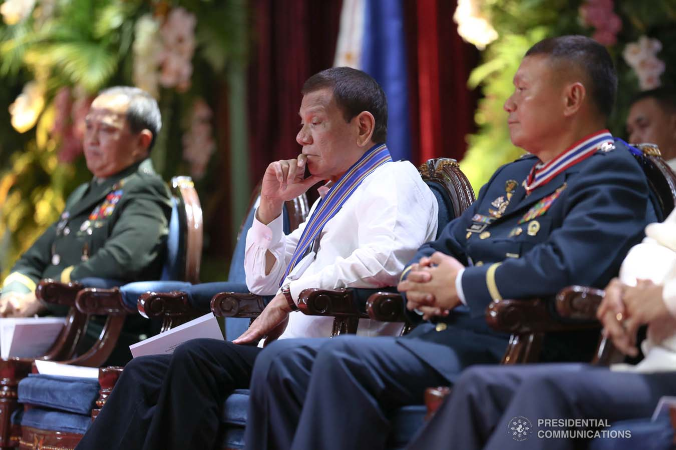 President Rodrigo Roa Duterte witnesses the program proper during the Philippine Air Force Change of Command ceremony at the Col. Jesus Villamor Air Base in Pasay City on January 16, 2020. KARL NORMAN ALONZO/PRESIDENTIAL PHOTO
