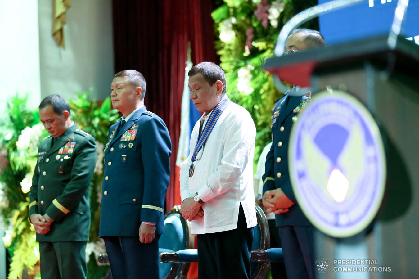 President Rodrigo Roa Duterte bows his head in prayer during the Philippine Air Force Change of Command ceremony at the Col. Jesus Villamor Air Base in Pasay City on January 16, 2020. KARL NORMAN ALONZO/PRESIDENTIAL PHOTO