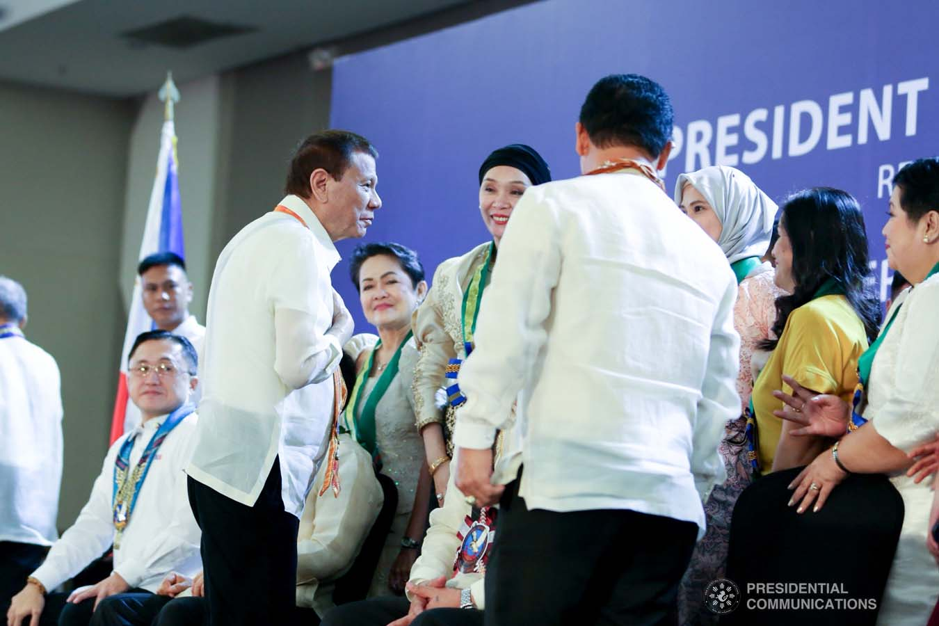 President Rodrigo Roa Duterte greets some of the guests during the thanksgiving gathering with The Fraternal Order of Eagles (TFOE) at the SMX Convention Center in Davao City on January 17, 2020. RICHARD MADELO/PRESIDENTIAL PHOTO