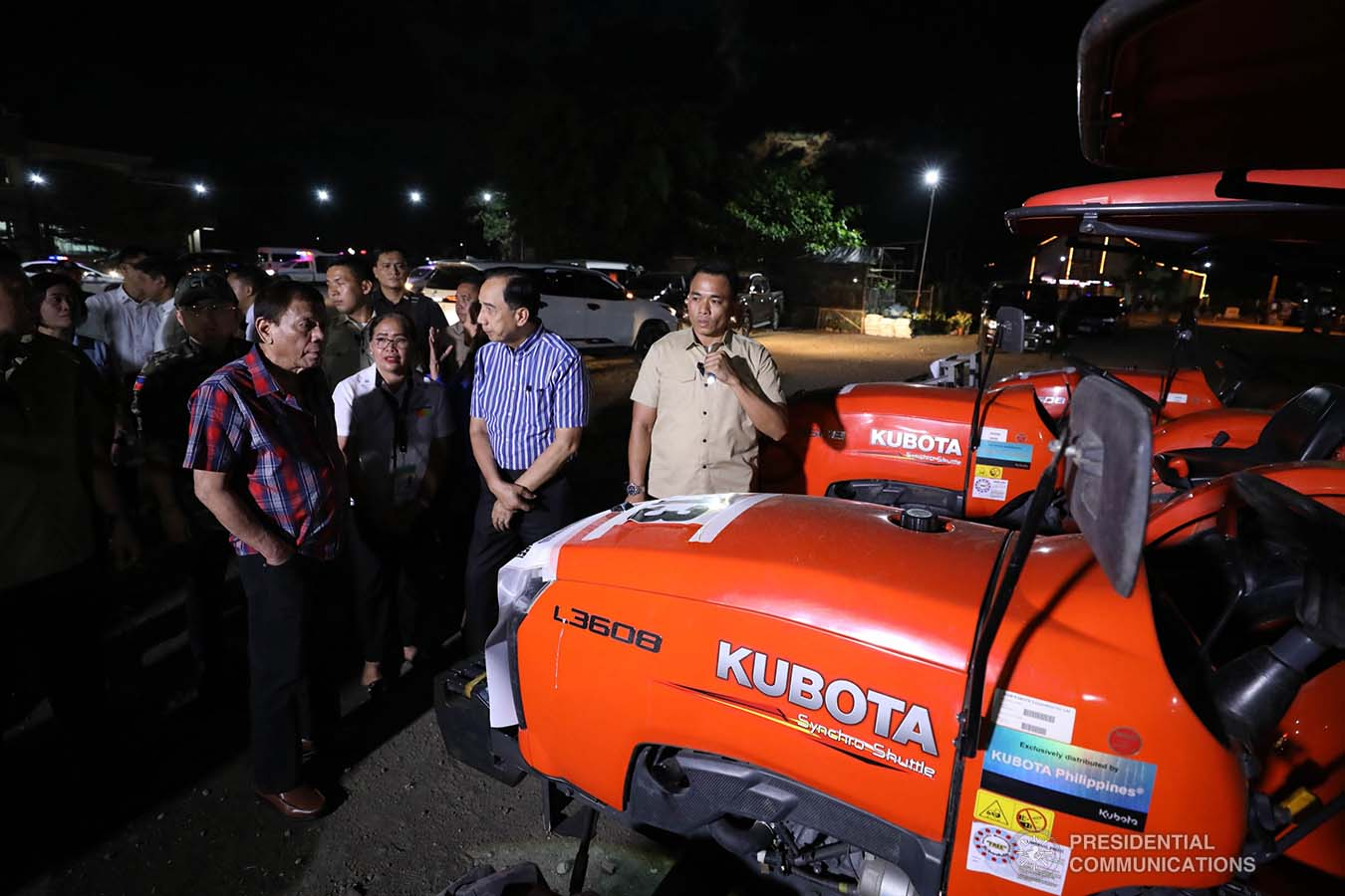 President Rodrigo Roa Duterte inspects the farm machineries during the ceremonial distribution of agricultural assistance to the farmers of Region 12 at the Pigcawayan Municipal Gymnasium in Cotabato on January 10, 2020. RICHARD MADELO/PRESIDENTIAL PHOTO