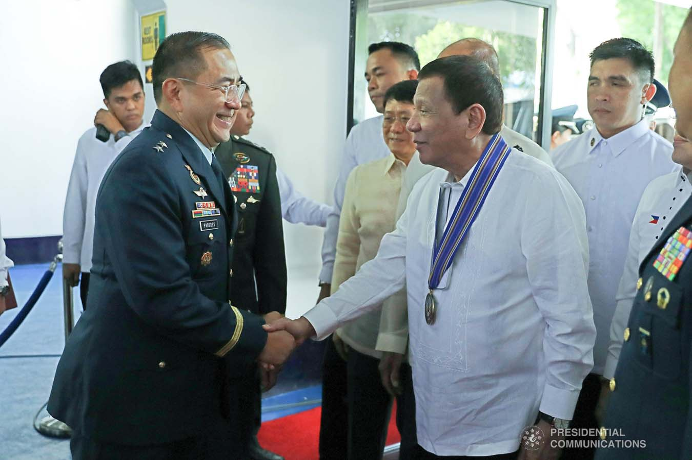 President Rodrigo Roa Duterte is greeted by incoming Philippine Air Force (PAF) Commanding General Major General Allen Paredes upon his arrival at the Col. Jesus Villamor Air Base in Pasay City for the PAF Change of Command ceremony on January 16, 2020. REY BANIQUET/PRESIDENTIAL PHOTO
