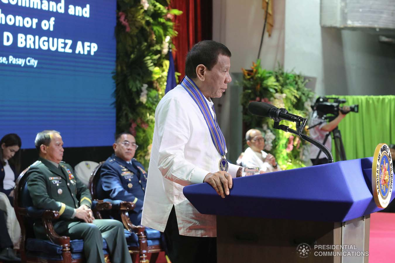 President Rodrigo Roa Duterte delivers a speech during the Philippine Air Force Change of Command ceremony at the Col. Jesus Villamor Air Base in Pasay City on January 16, 2020. REY BANIQUET/PRESIDENTIAL PHOTO