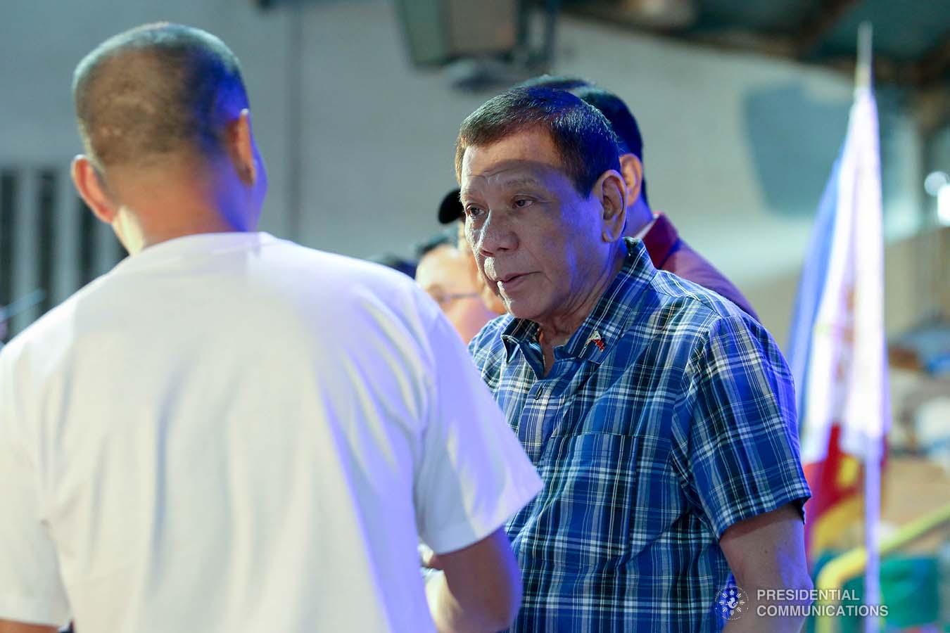 President Rodrigo Roa Duterte leads the ceremonial distribution of calamity assistance to the families affected by the Taal Volcano eruption at the Polytechnic University of the Philippines-Sto. Tomas Campus in Sto. Tomas City, Batangas on January 20, 2020. VALERIE ESCALERA/PRESIDENTIAL PHOTO