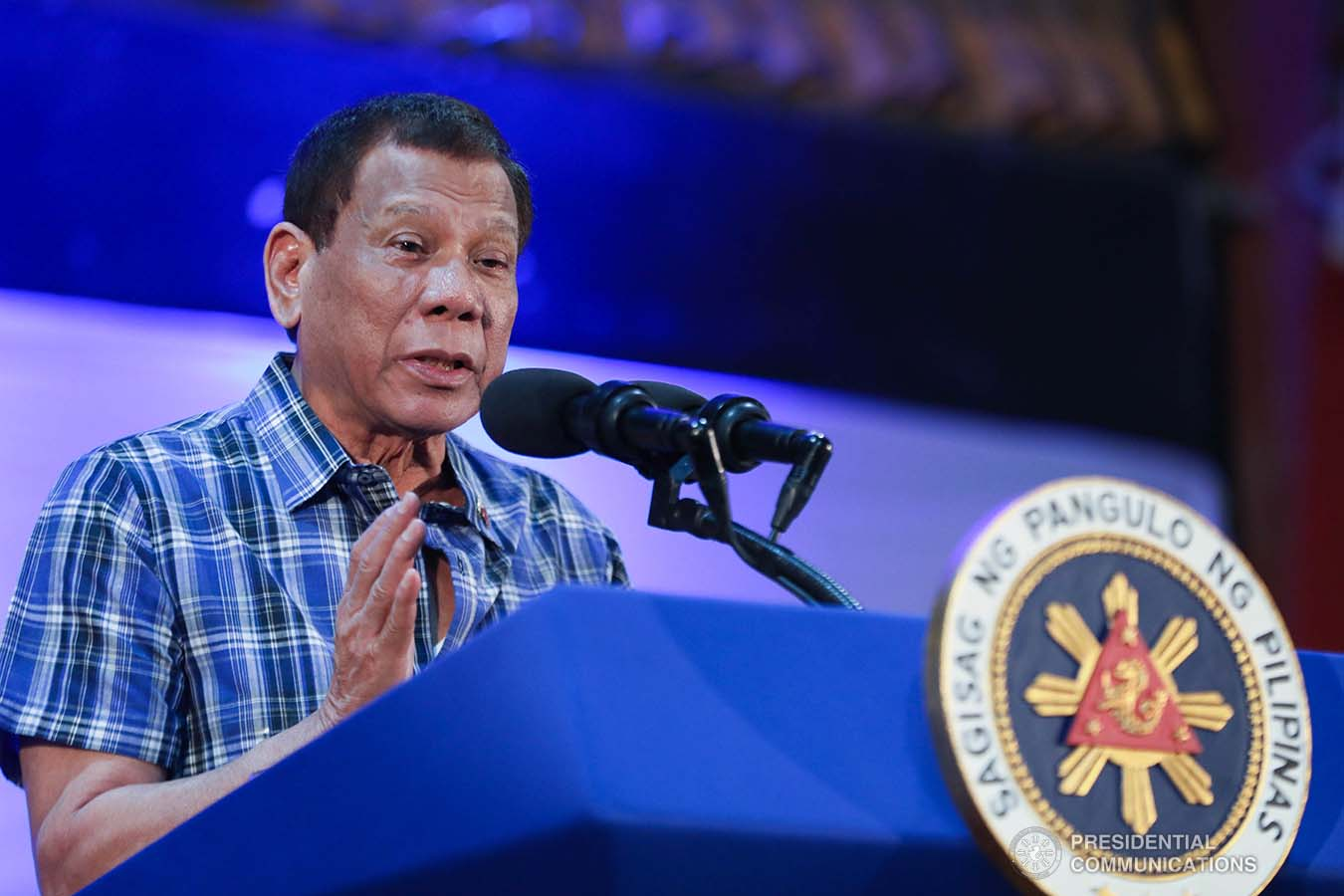 President Rodrigo Roa Duterte delivers a speech after leading the ceremonial distribution of assistance to the families affected by the Taal Volcano eruption at the Polytechnic University of the Philippines-Sto. Tomas Campus in Sto. Tomas City, Batangas on January 20, 2020. VALERIE ESCALERA/PRESIDENTIAL PHOTO