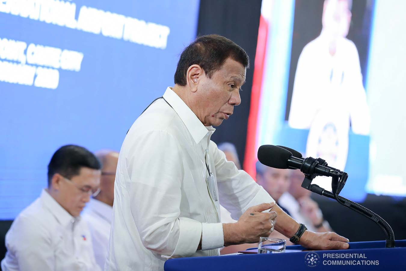 President Rodrigo Roa Duterte delivers a speech during the inauguration of the Sangley Airport Development Project and presentation of the Sangley Point International Airport Project in Cavite City on February 15, 2020. ALFRED FRIAS/PRESIDENTIAL PHOTO