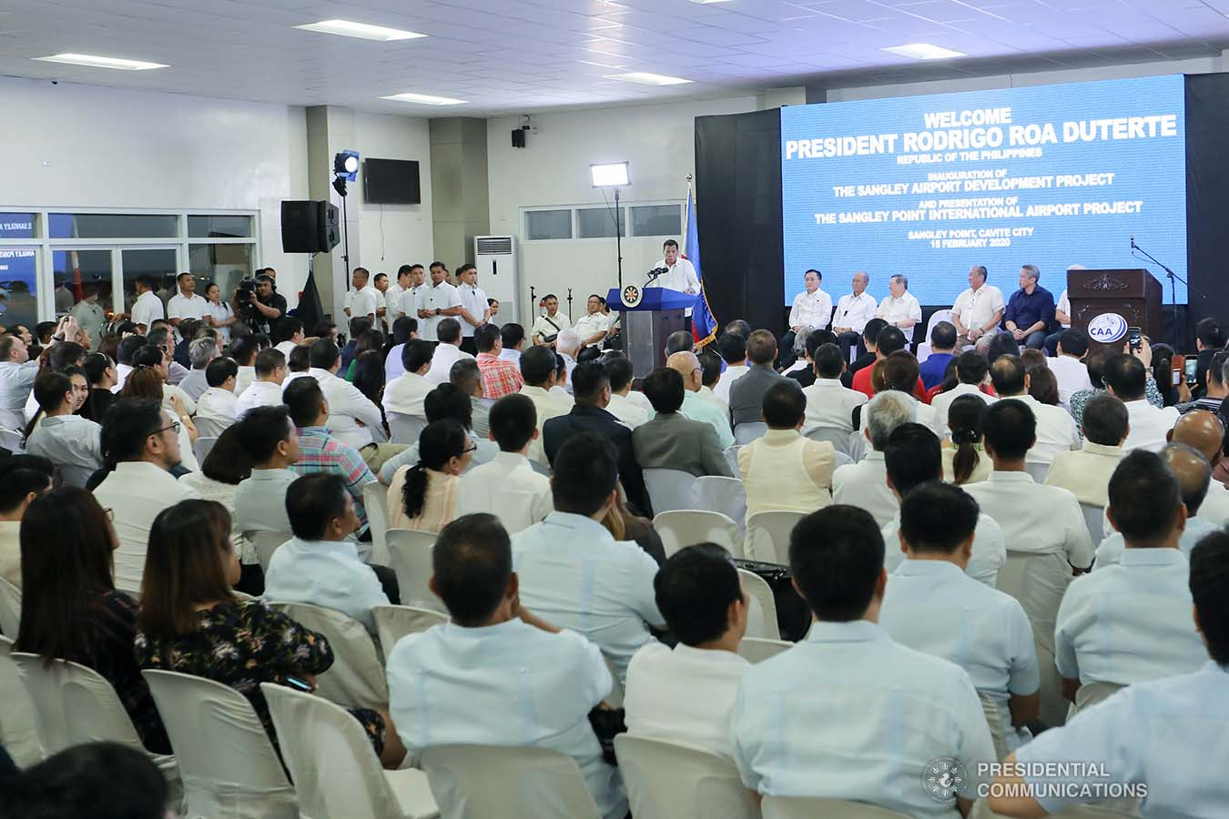 President Rodrigo Roa Duterte delivers a speech during the inauguration of the Sangley Airport Development Project in Cavite City on February 15, 2020. ALFRED FRIAS/PRESIDENTIAL PHOTO