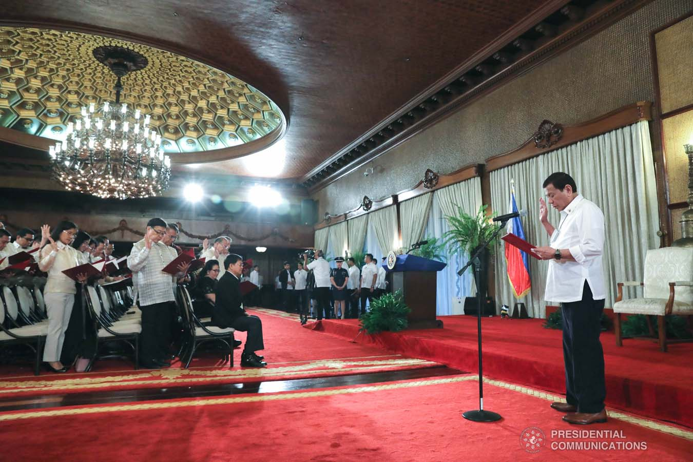 President Rodrigo Roa Duterte swears in the new National Commission for Culture and the Arts officials during the oath-taking ceremony at the Malacañan Palace on February 26, 2020. ROBINSON NIÑAL JR./PRESIDENTIAL PHOTO