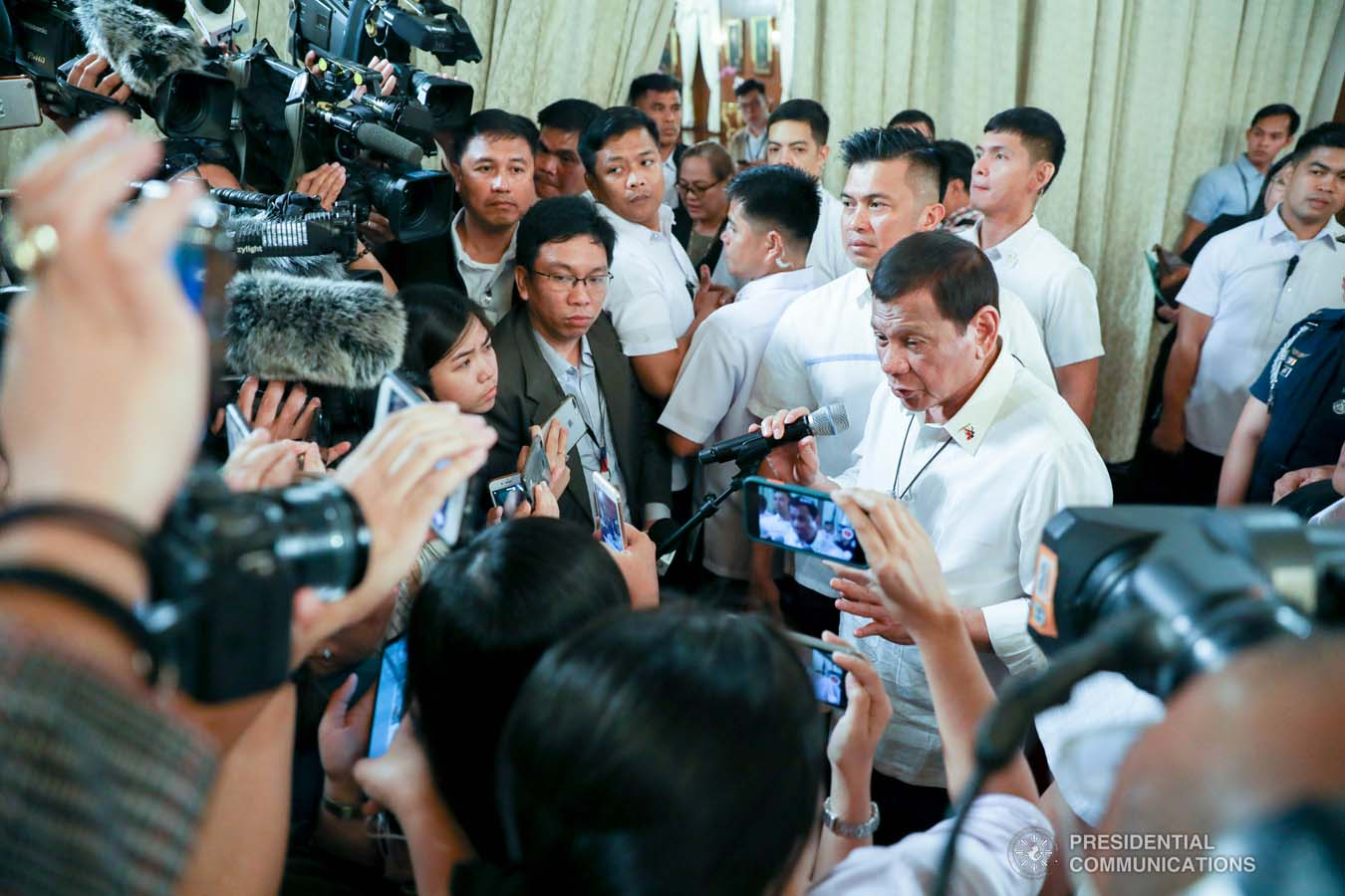 President Rodrigo Roa Duterte answers queries from members of the media following the oath-taking of the new officials of the National Commission for Culture and the Arts (NCCA) and presentation of the 12th Ani ng Dangal awardees at the Malacañan Palace on February 26, 2020. SIMEON CELI JR./PRESIDENTIAL PHOTO