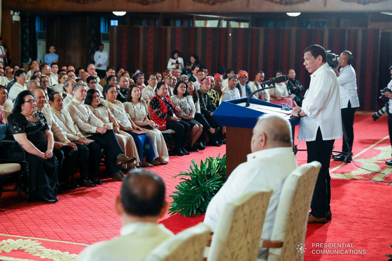 President Rodrigo Roa Duterte delivers a speech during the oath-taking of new officials of the National Commission for Culture and the Arts and presentation of the 12th Ani ng Dangal awardees at the Malacañan Palace on February 26, 2020. SIMEON CELI JR./PRESIDENTIAL PHOTO