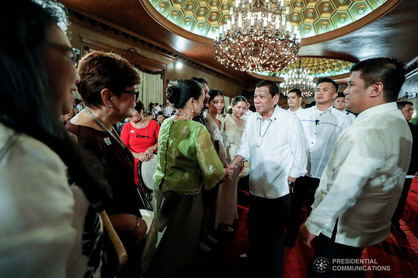 President Rodrigo Roa Duterte greets some of the guests during the oath-taking of the new officials of the National Commission for Culture and the Arts (NCCA) and presentation of the 12th Ani ng Dangal awardees at the Malacañan Palace on February 26, 2020. RICHARD MADELO/PRESIDENTIAL PHOTO