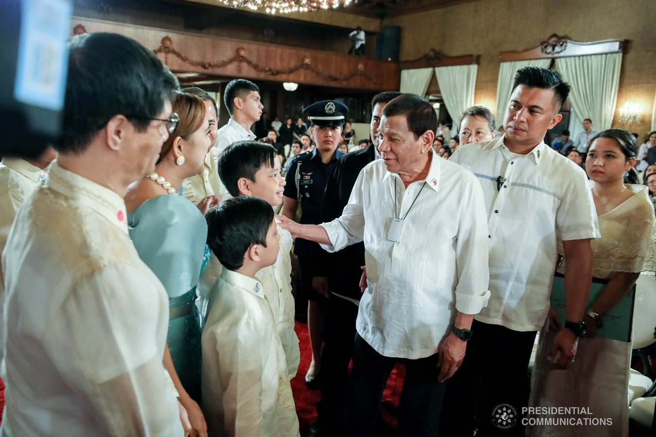 President Rodrigo Roa Duterte chats with some of the guests during the oath-taking of the new officials of the National Commission for Culture and the Arts (NCAA) and presentation of the 12th Ani ng Dangal awardees at the Malacañan Palace on February 26, 2020. RICHARD MADELO/PRESIDENTIAL PHOTO